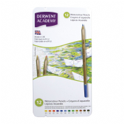 Derwent Academy - Watercolour Pencils - pack of 12 Assorted Colours